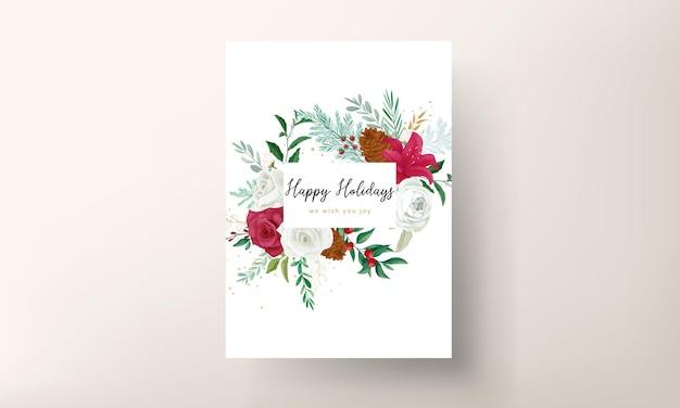 Diseño de plantilla de tarjeta de navidad con hermosas flores y hojas doradas