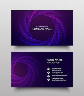 Diseño de plantilla de tarjeta de visita abstracta, de dos lados con gradiente fluido sobre fondo morado,