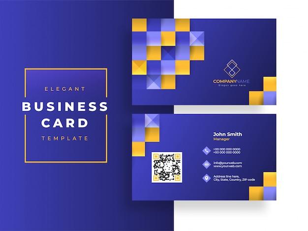 Diseño de plantilla de tarjeta de visita azul o diseño de tarjeta de visita con patrón cuadrado.