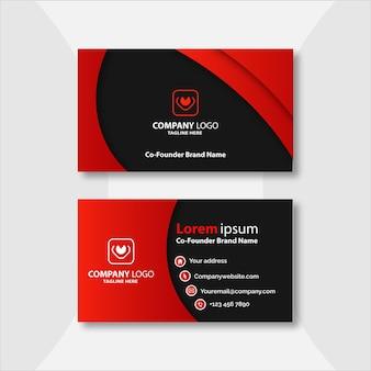 Diseño de plantilla de tarjeta de visita geométrica roja y negra
