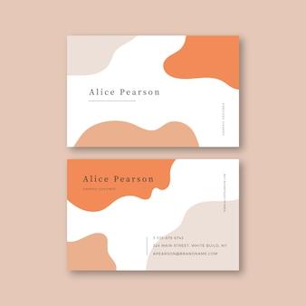 Diseño de plantilla de tarjeta de visita con manchas de color pastel