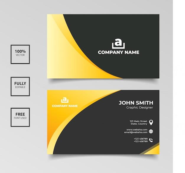 Diseño de plantilla de tarjeta de visita negra dorada