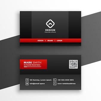 Diseño de plantilla de tarjeta de visita oscura roja y negra