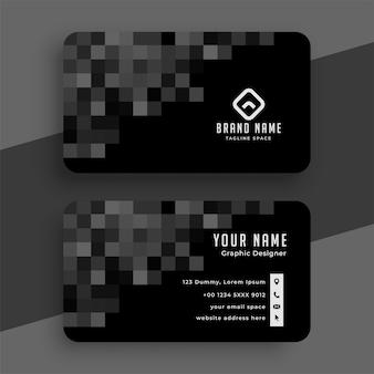 Diseño de plantilla de tarjeta de visita de píxeles negros