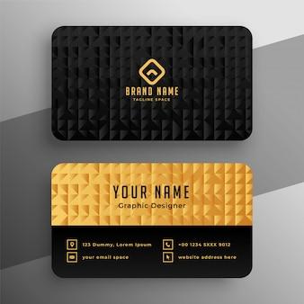 Diseño de plantilla de tarjeta de visita premium negra y dorada