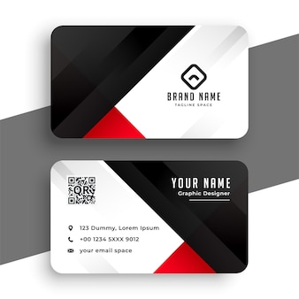 Diseño de plantilla de tarjeta de visita roja y negra