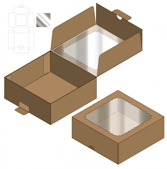Diseño de plantilla troquelada caja de embalaje. 3d