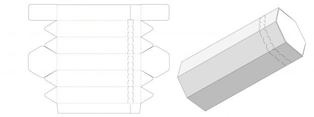 Diseño de plantilla troquelada de caja de embalaje en forma de tubo