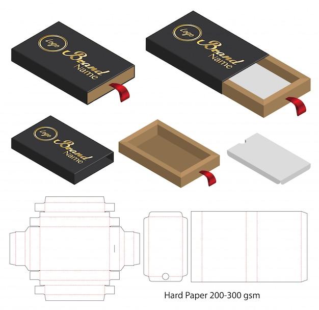 Diseño de plantilla troquelada caja de embalaje maqueta 3d