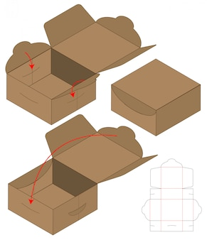 Diseño de plantilla troquelada caja de embalaje. maqueta 3d