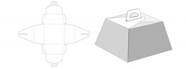 Diseño de plantilla troquelada de caja de pastel trapezoidal