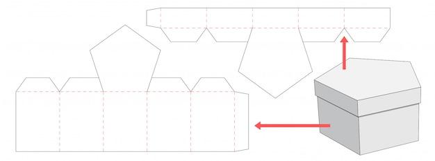 Diseño de plantilla troquelada de caja y tapa del pentágono