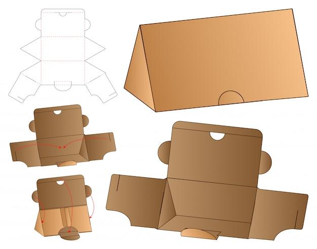 Diseño de plantilla troquelada de caja de triángulo.