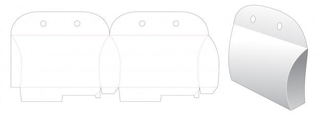 Diseño de plantilla troquelada de embalaje de almohada de cartón