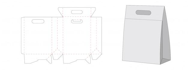 Diseño de plantilla troquelada de embalaje de bolsas de papel