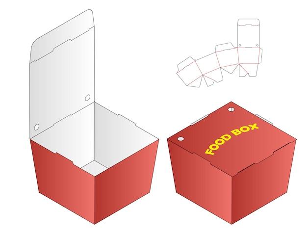 Diseño de plantilla troquelada de embalaje de caja de alimentos