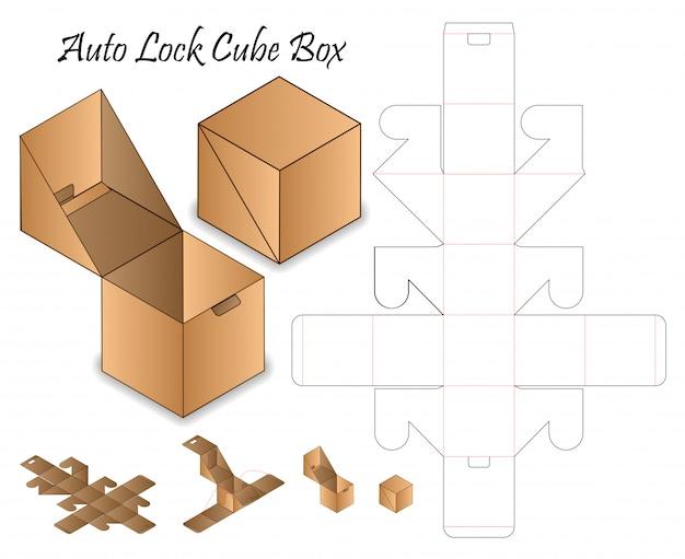 Diseño de plantilla troquelada de embalaje de caja de bloqueo automático maqueta 3d