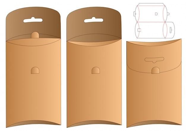 Diseño de plantilla troquelada de embalaje de caja colgante