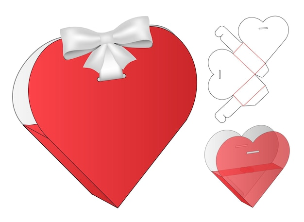 Diseño de plantilla troquelada de embalaje de caja en forma de corazón maqueta 3d