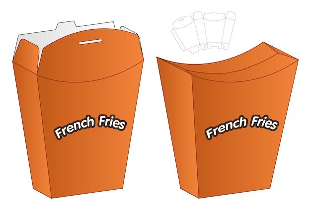 Diseño de plantilla troquelada de embalaje de caja de papas fritas de alimentos