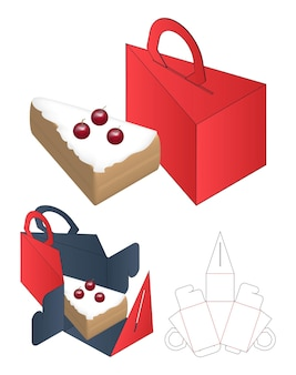 Diseño de plantilla troquelada de embalaje de caja de pastel