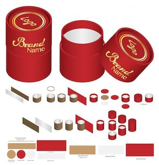 Diseño de plantilla troquelada de embalaje de caja redonda alta. maqueta 3d