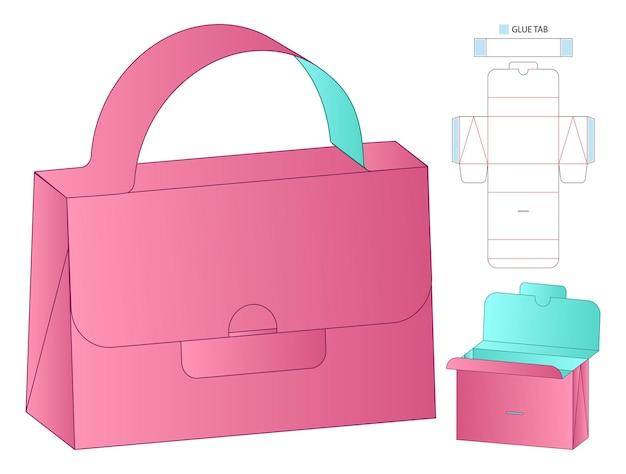 Diseño de plantilla troquelada de embalaje de caja.