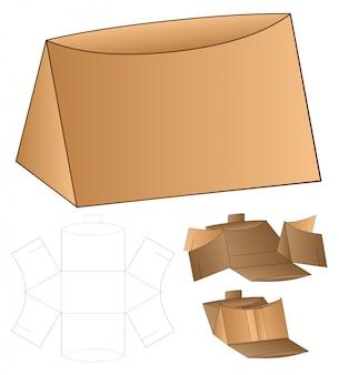 Diseño de plantilla troquelada de embalaje triangular. maqueta 3d