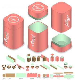 Diseño de plantilla troquelada de empaquetado de caja de esquina redonda alta. maqueta 3d