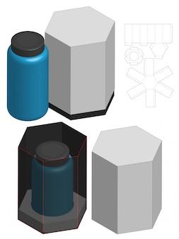 Diseño de plantilla troquelada de envases de caja alta. maqueta 3d