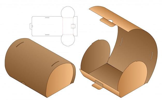 Diseño de plantilla troquelada de envases de caja curva. 3d