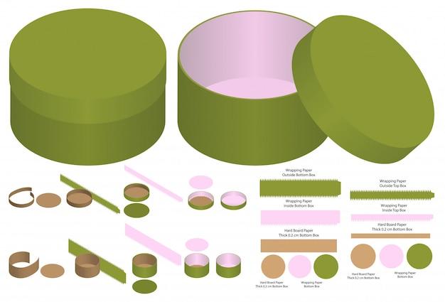 Diseño de plantilla troquelada de envases de caja redonda. maqueta 3d