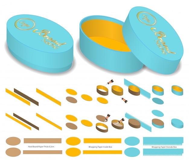 Diseño de plantilla troquelada de envases de forma ovalada. maqueta 3d