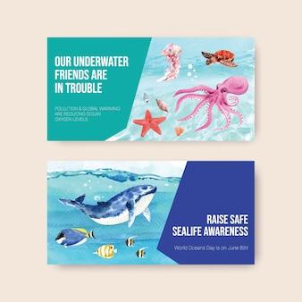Diseño de plantilla de twitter para el concepto del día mundial de los océanos con animales marinos, ballenas, tortugas, estrellas de mar y vectores de acuarela de pulpo