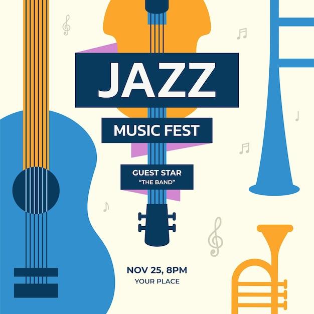 Diseño de plantilla de vector de fondo de festival de música de jazz
