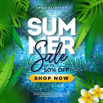 Diseño de plantilla de venta de verano con hojas de palmeras tropicales en la piscina