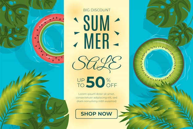 Diseño de plantilla de venta de verano con neumáticos de vida y hojas tropicales