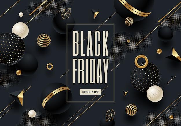 Diseño de plantilla de viernes negro con elementos y forma geométrica negra y dorada.