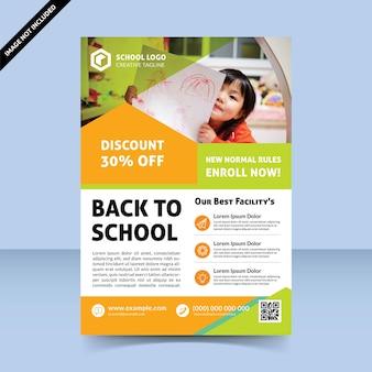 Diseño de plantilla de volante alegre de regreso a la escuela