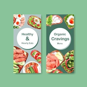 Diseño de plantilla de volante de alimentos saludables y orgánicos