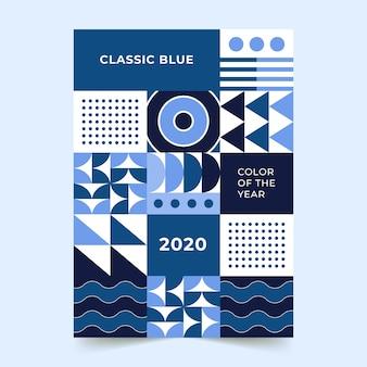 Diseño de plantilla de volante azul clásico abstracto