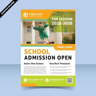 Diseño de plantilla de volante colorido abierto de admisión a la escuela
