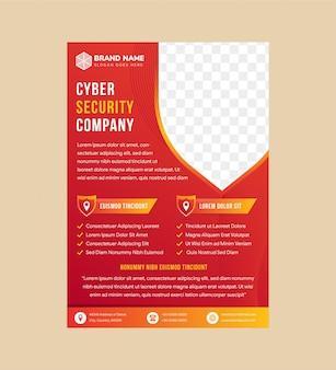 Diseño de plantilla de volante para empresa de seguridad cibernética utiliza plantilla vertical. forma de escudo para espacio fotográfico. degradado naranja rojo para el fondo.