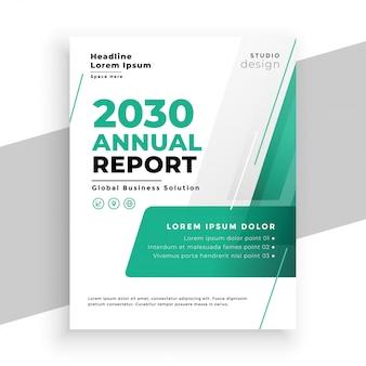 Diseño de plantilla de volante de informe anual de negocios de color turquesa