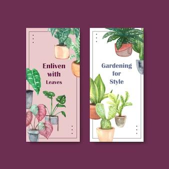 Diseño de plantilla de volante de plantas de verano para folleto, folleto, publicidad ilustración acuarela