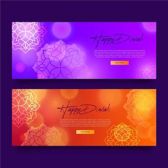 Diseño de plantillas de banners horizontales de diwali