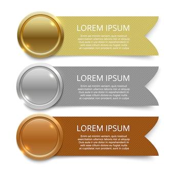 Diseño de plantillas de banners de medallas de oro, plata y bronce.