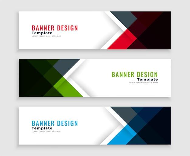 Diseño de plantillas de banners de negocios web geométricos