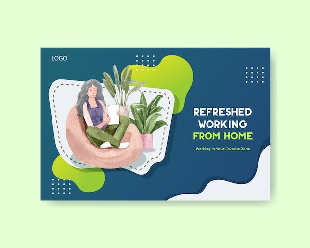 Diseño de plantillas de facebook con personas que trabajan desde casa. ilustración de acuarela de concepto de oficina en casa