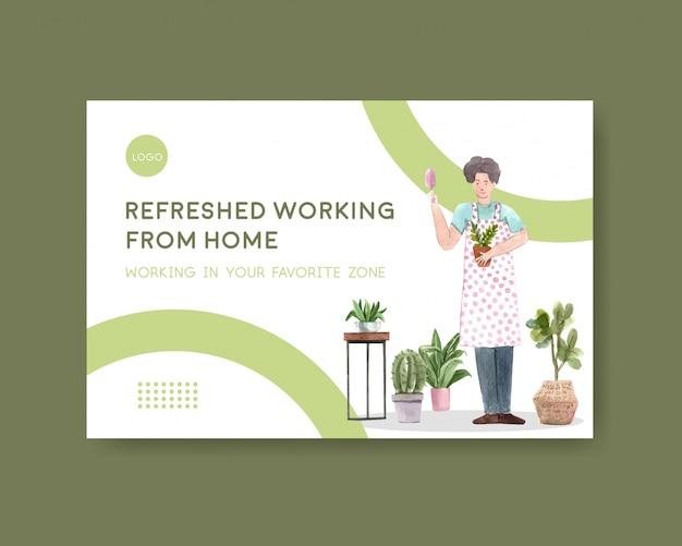 El diseño de plantillas de facebook con personas trabaja desde el hogar y las plantas verdes. ilustración de acuarela de concepto de oficina en casa